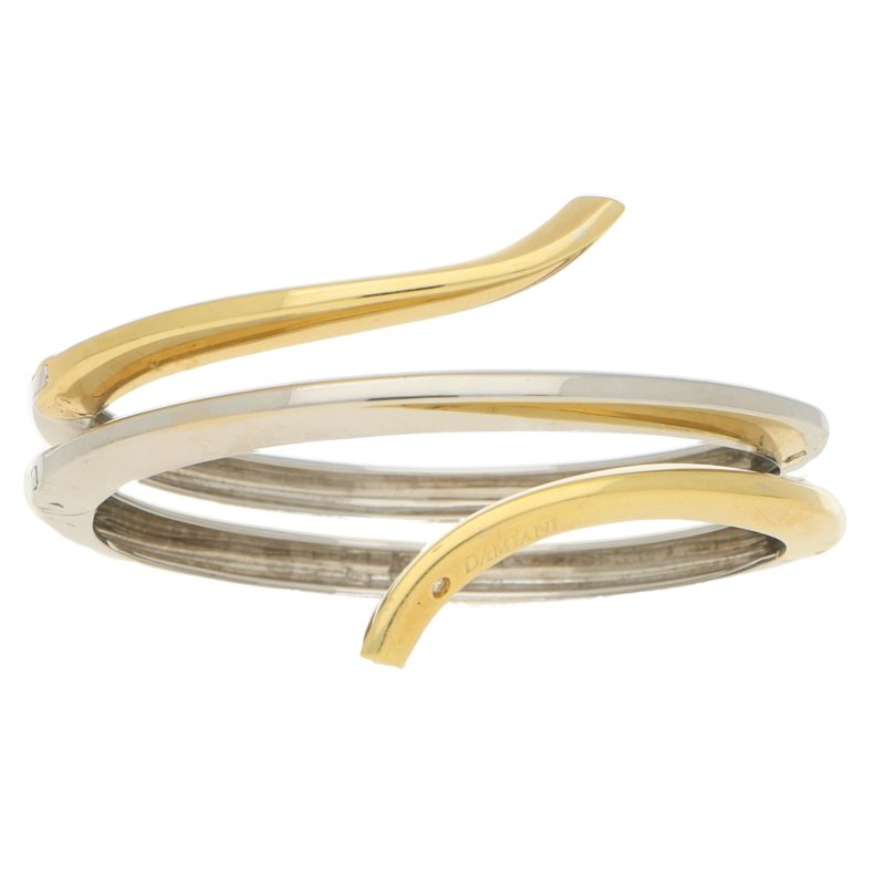 Damiani Eden Diamond Bangle Bracelet in Yellow and White Gold