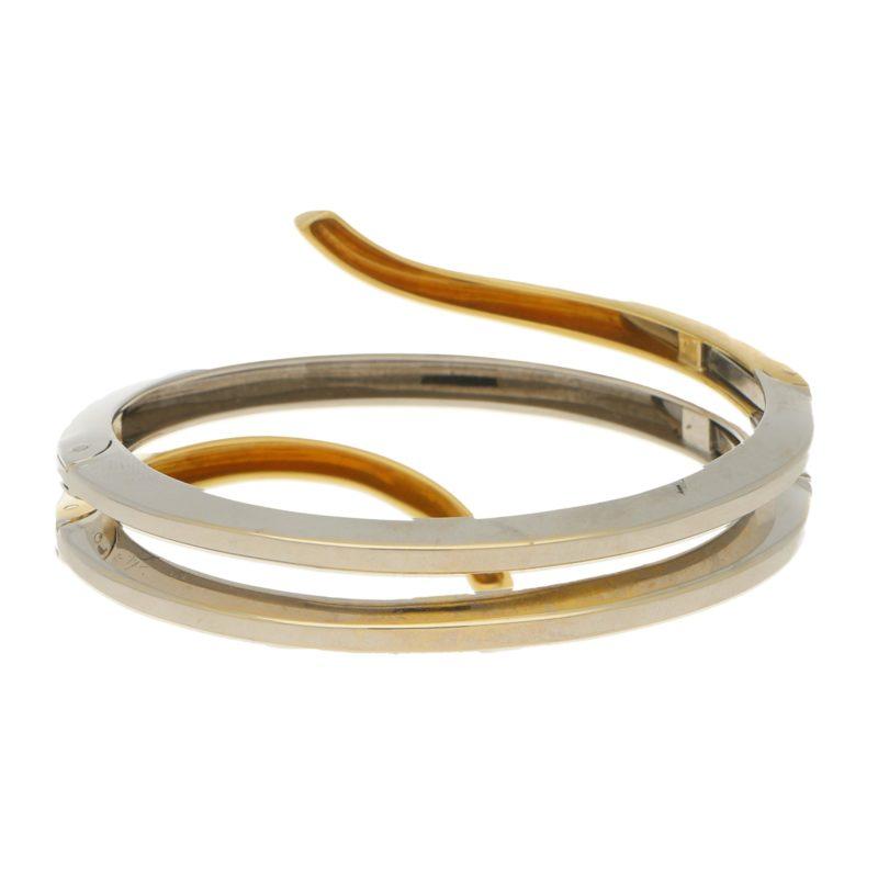 Damiani Eden Diamond Bangle Bracelet in Yellow and White Gold