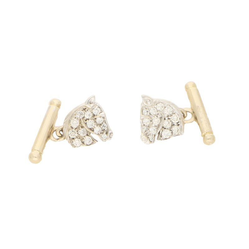 Diamond Horsehead Cullinks in White and Yellow Gold