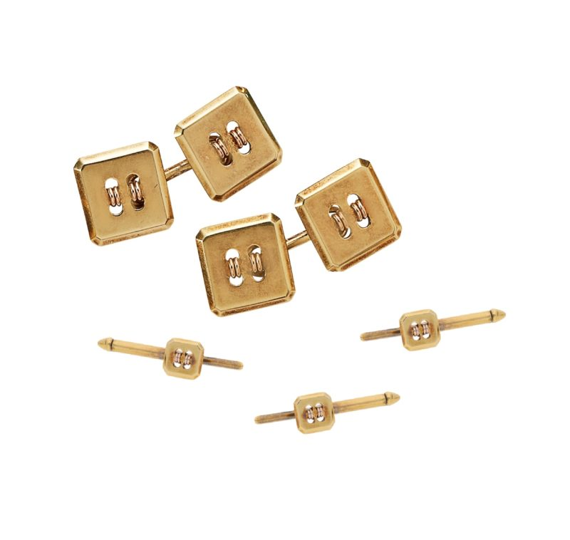 Cartier button motif dress set in gold