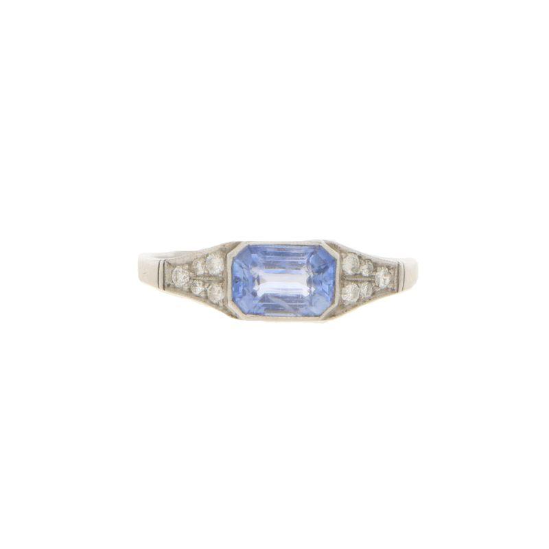 Art Deco sapphire and diamond ring in platinum.