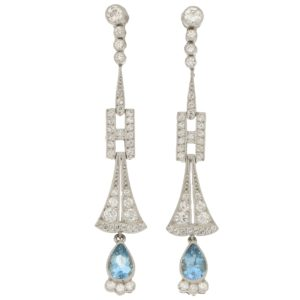 Art Deco aquamarine and diamond earrings in platinum