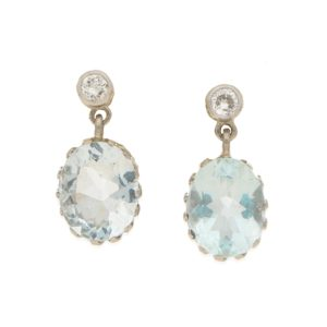 Edwardian aquamarine and diamond drop earrings.
