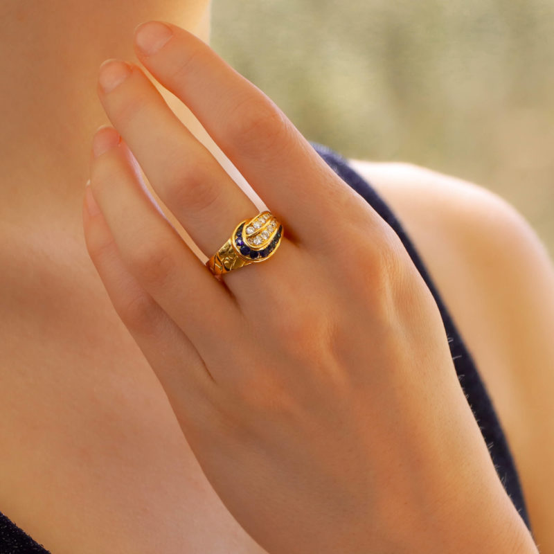 Mauboussin Diamond and Sapphire Ring in Yellow Gold