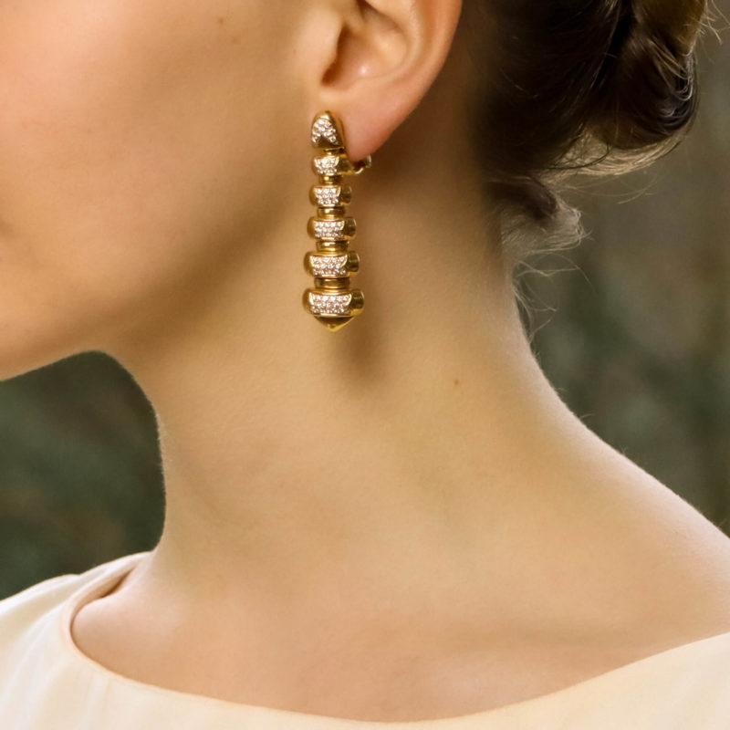Vintage Bulgari Diamond Drop Earrings in Yellow Gold
