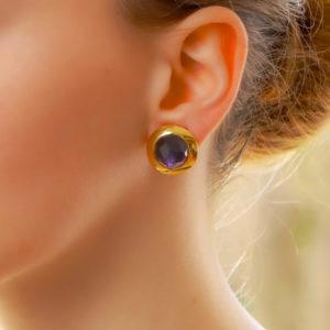 12.60ct Pomellato Iolite Clip Earrings in Yellow Gold