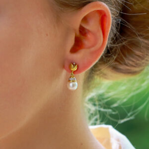 Pearl and Diamond Floral Drop Earrings
