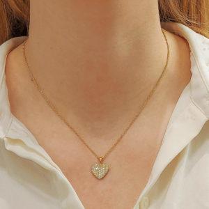 Diamond Heart Pendant in Yellow Gold