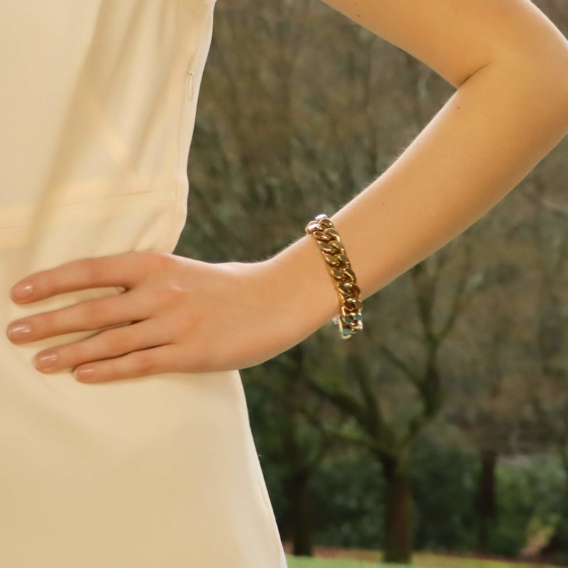 Vintage Flat Curb Link Chain Bracelet in 9kt Yellow Gold