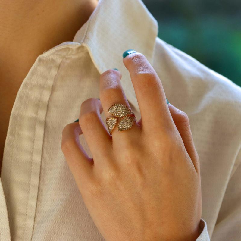 Diamond Leaf Ring in Rose Gold