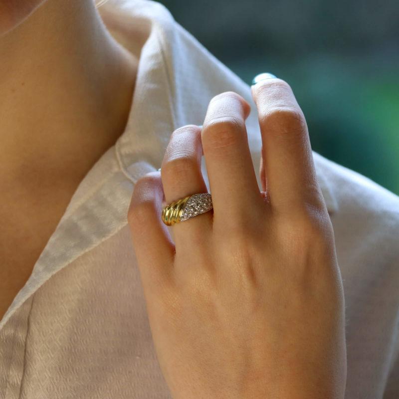 Damiani Diamond and 18kt Yellow Gold Ring