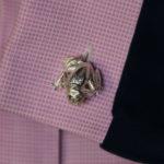 Emerald Eye Frog Cufflinks in Sterling Silver