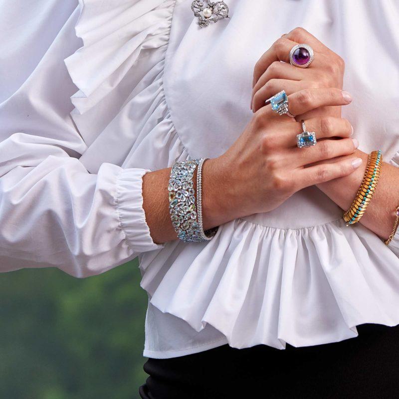 Aquamarine and Diamond Bracelet
