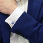 Men's blue and white enamel link cufflinks in sterling silver
