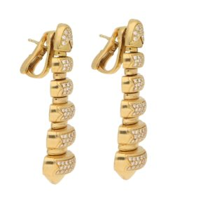 Vintage Bulgari Diamond Drop Earrings in Yellow Gold