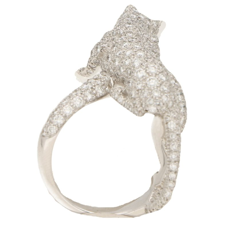 Panthere de Cartier Walking Panther Diamond Ring in White Gold
