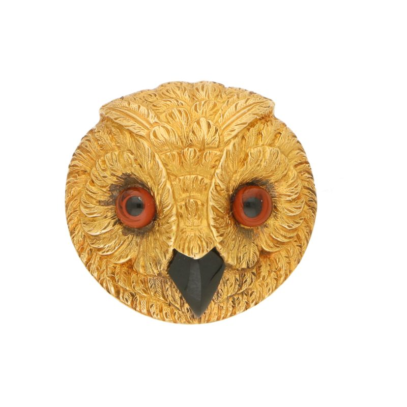 Victorian owl head brooch in yellow gold