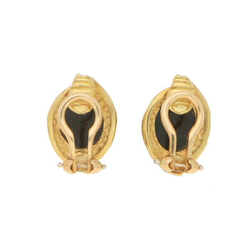 Onyx Cabochon Clip-On Earrings in Yellow Gold