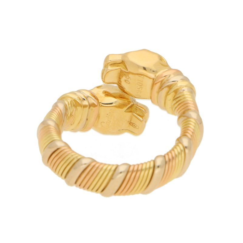 Panthere de Cartier Double Head Crossover Ring in Tricolour Gold