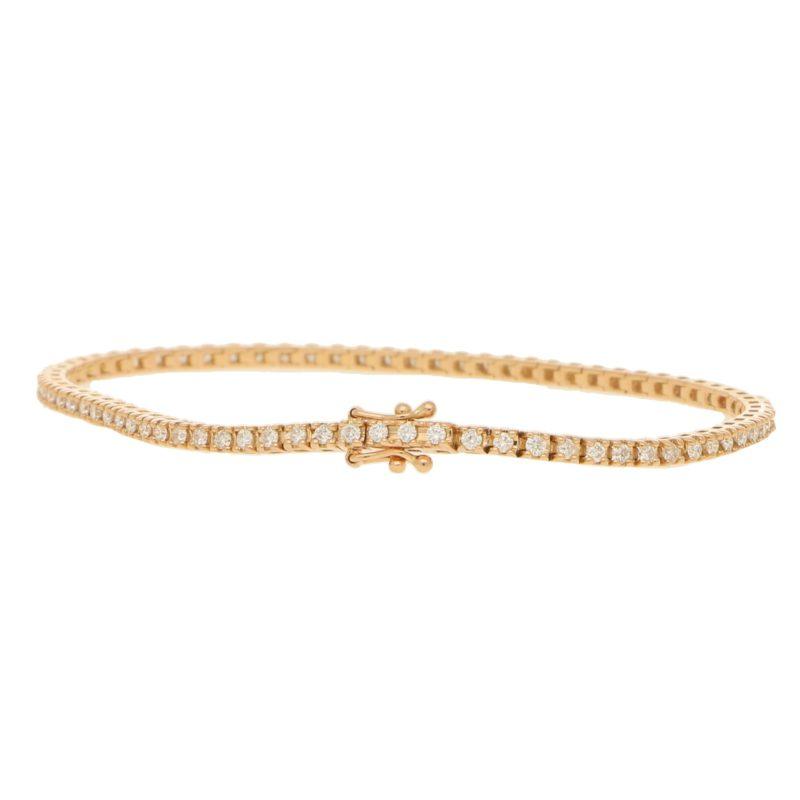 Diamond line bracelet in 18k rose gold.