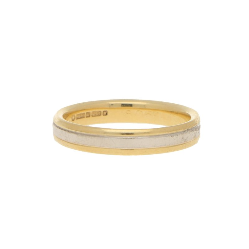 4mm Court Shape Wedding Band in 18kt White and Yellow Gold