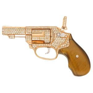 Diamond and Tiger's Eye Jewelled Revolver in Rose Gold