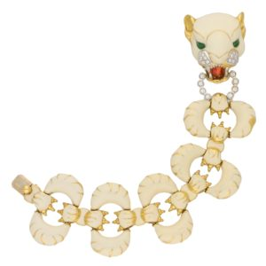 Italian Diamond and White Enamel Tiger Bracelet in Yellow Gold