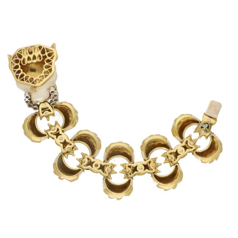 Italian Diamond and White Enamel Tiger Bracelet in Yellow Gold