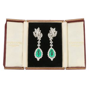1960s Colombian Emerald and Diamond Convertible Drop Earrings