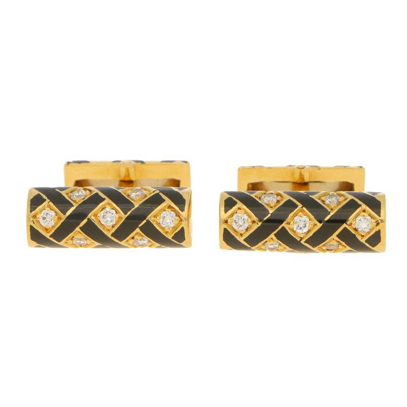 Tiffany Diamond and Black Enamel Cufflinks in Yellow Gold