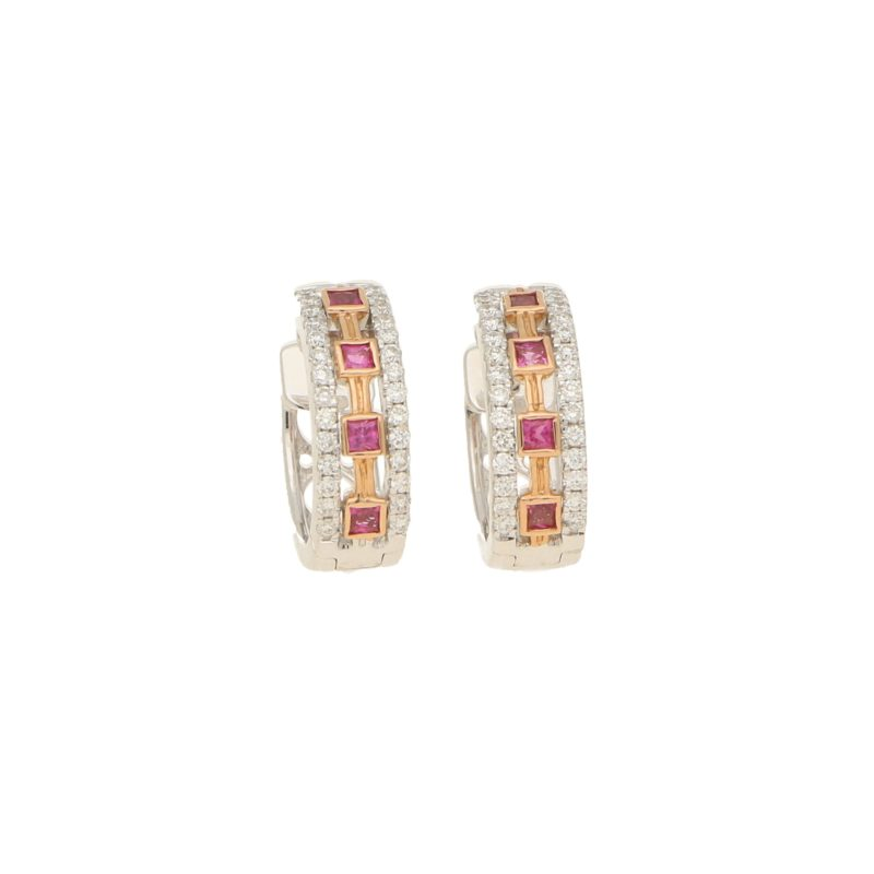 Aztec Pink Sapphire and Diamond Hoops
