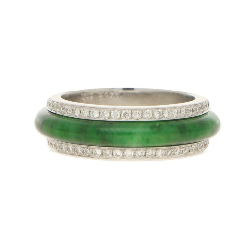 18ct White Gold Jade and Diamond Full Etenrity
