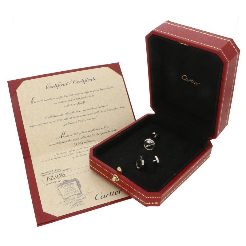 Cartier Love cufflinks in platinum.