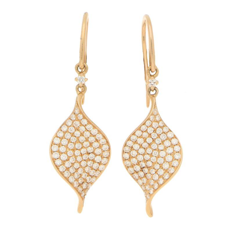 Diamond Rose Gold Leaf Drop Earrings