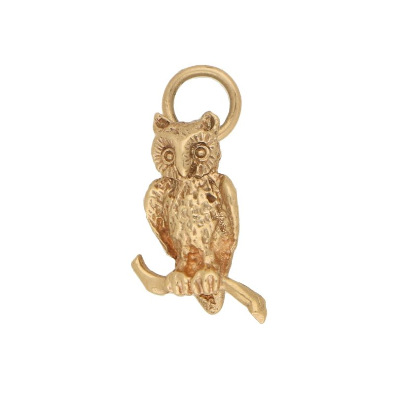 Vintage Perching Owl Charm in Yellow Gold