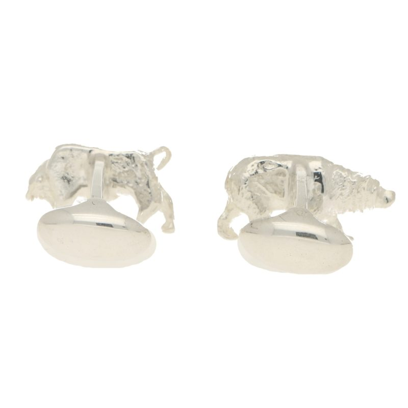 Sterling silver bull and bear cufflinks swivel back fitting
