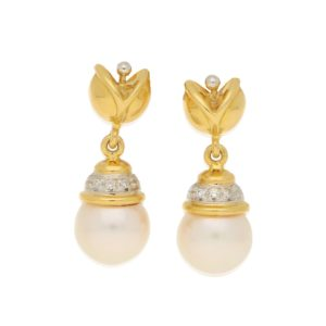 Cultured Pearl and Diamond Drop Earrings in Mixed Gold, Italian