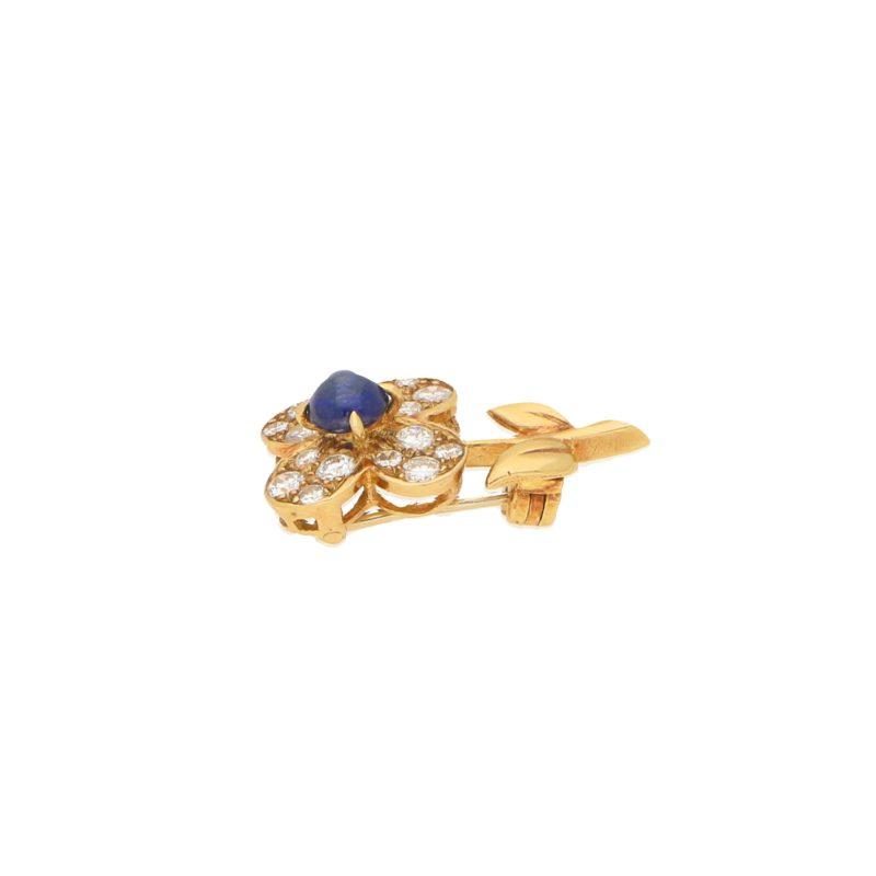 Van Cleef & Arpels Sapphire and Diamond Flower Brooch