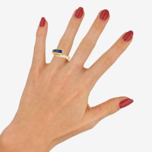 Sapphire Diamond Fancy Crossover Half Eternity Ring Yellow Gold