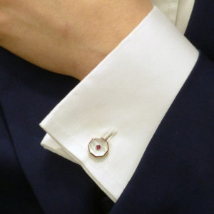 Mother-of-Pearl, Ruby and Enamel Cufflinks Sterling Silver