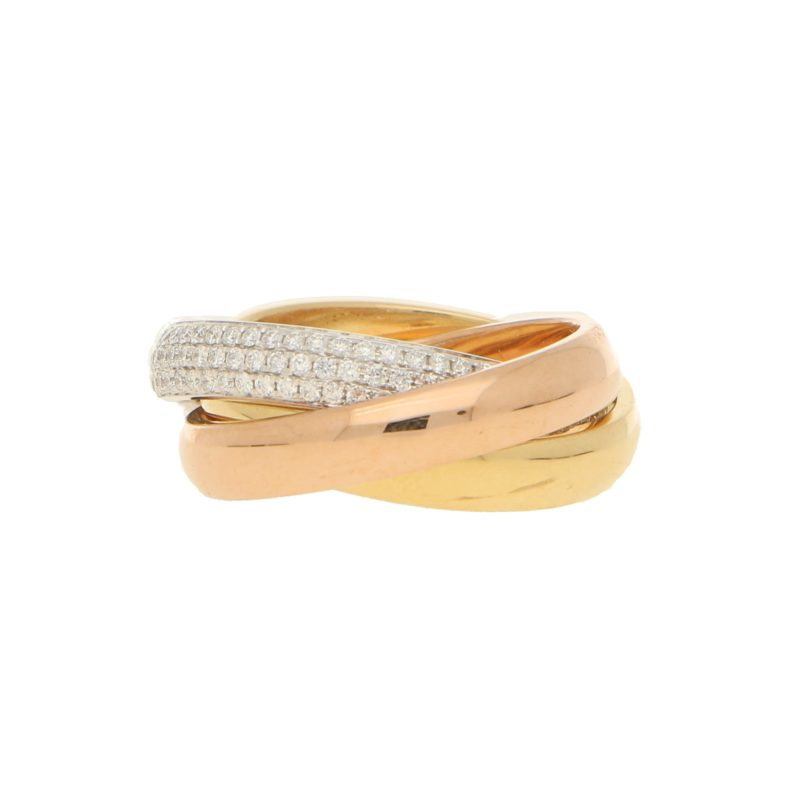 Diamond Trinity Ring Set in 18k Tri-Gold