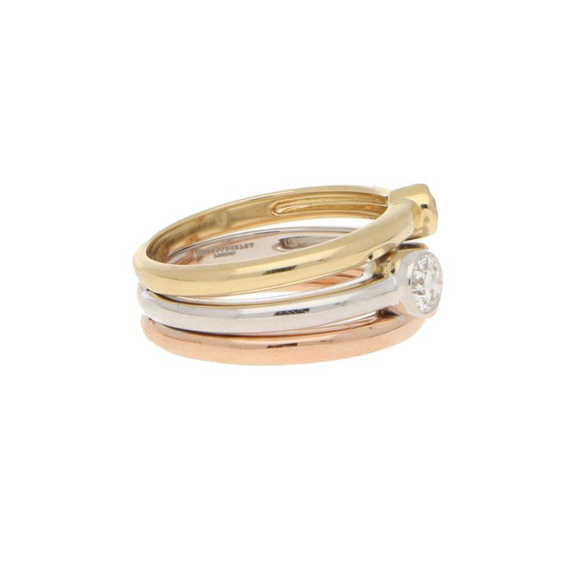 Three Row Three Colour Diamond Ring