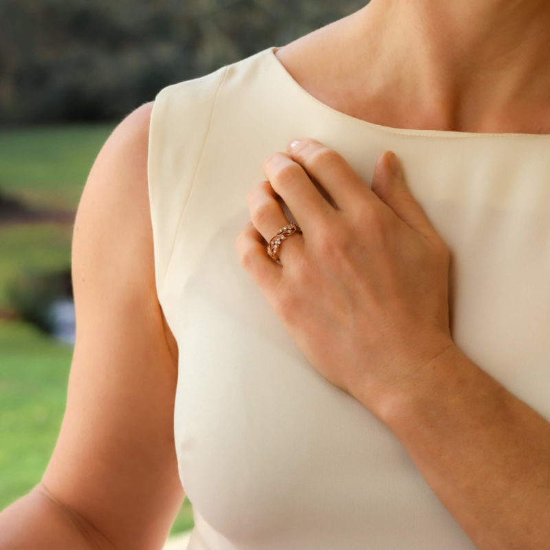 Rose Gold Floral Diamond Ring