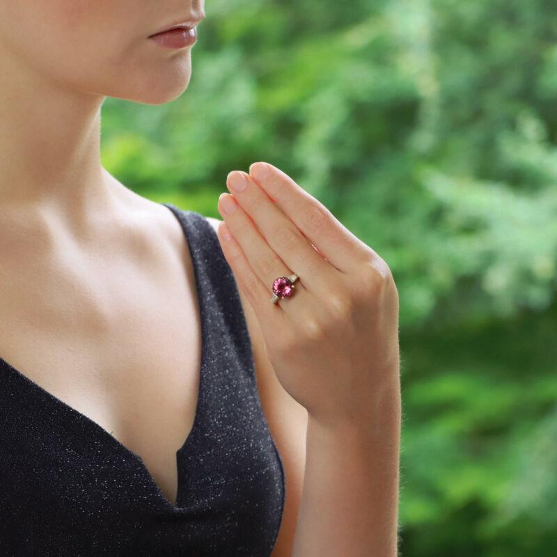 Pink Tourmaline and Diamond Engagement / Dress Ring