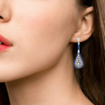 Sapphire & Diamond Art Deco Style Drop Earrings