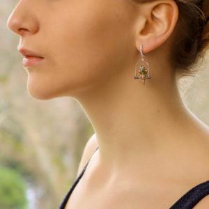 Tsavorite Garnet and Sapphire Parrot Earrings