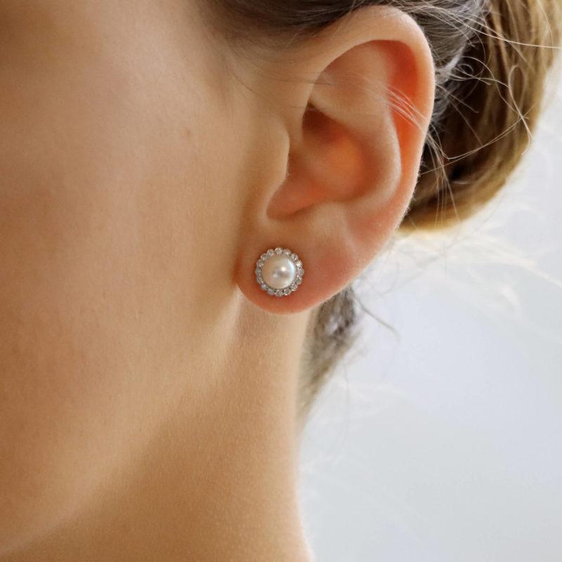 Pearl and Diamond Cluster Stud Earrings