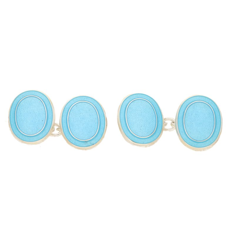Men's blue enamel link cufflinks in sterling silver