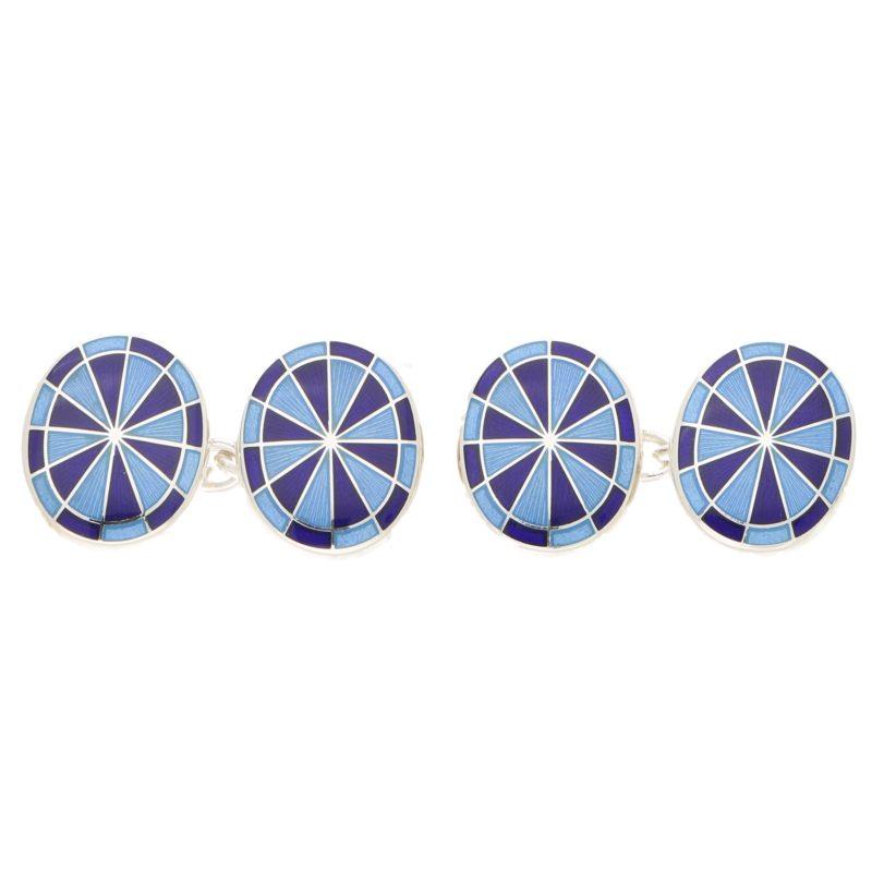 Men's blue and dark blue enamel link cufflinks sterling silver