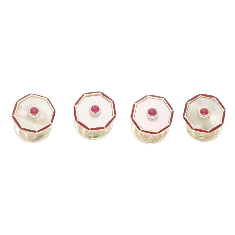 Silver mother of pearl ruby shirt studs